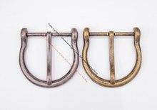 54x54mm (interno 39mm) vintage redondo bronze antigo/prata pino fivela de cinto de couro masculino fits 38mm correia de couro