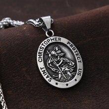 Collier Vintage en acier inoxydable, pendentif pour homme, bijou Saint Chris Topher, chaîne gothique, protection américaine