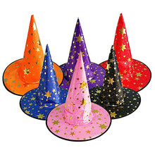 6pcs Wizard Halloween Party Accessories Caps Head Wear Cosplay Costume Witch Hat Adult Kids Masquerade Ball Performance Dress Up(China)