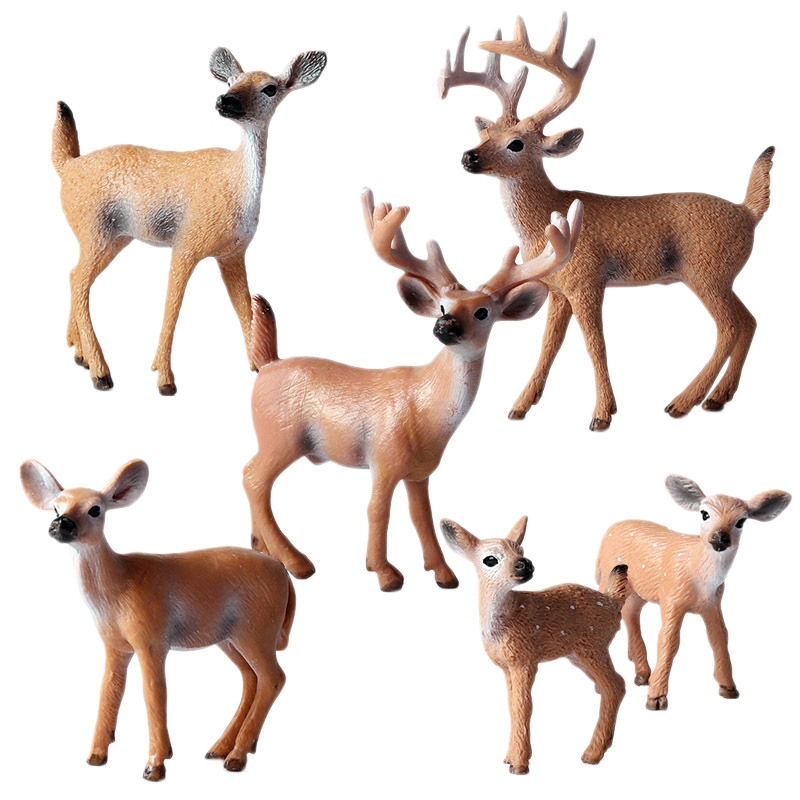 Children Simulation Wild White-Tailed Deer Fawn Statue Animal Static Model Environmental Solid Decoration Set