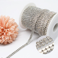 3 мм Двухрядные цепочки с кристаллами с серебрянной акантовкой, белый Цвет стеклянные кристаллы, Стразы цепи для DIY комплекты пижам «Хелло К...