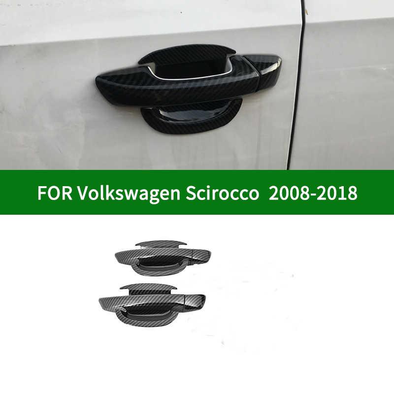 Yuanyuan Fit For Volkswagen Vw Scirocco 3 Mk3 Accessories Door Handle Cover Trim Handles Covers Plastic Imitation Carbon Fiber