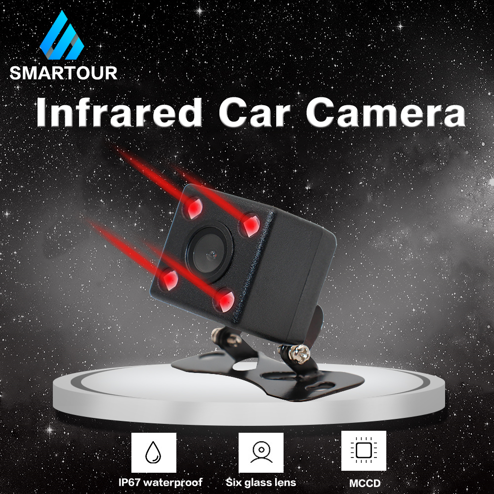 Smartour Car Reversing Camera LED Infrared Night Vision Rear View Automatic Parking Monitoring CCD Video Backup Camera