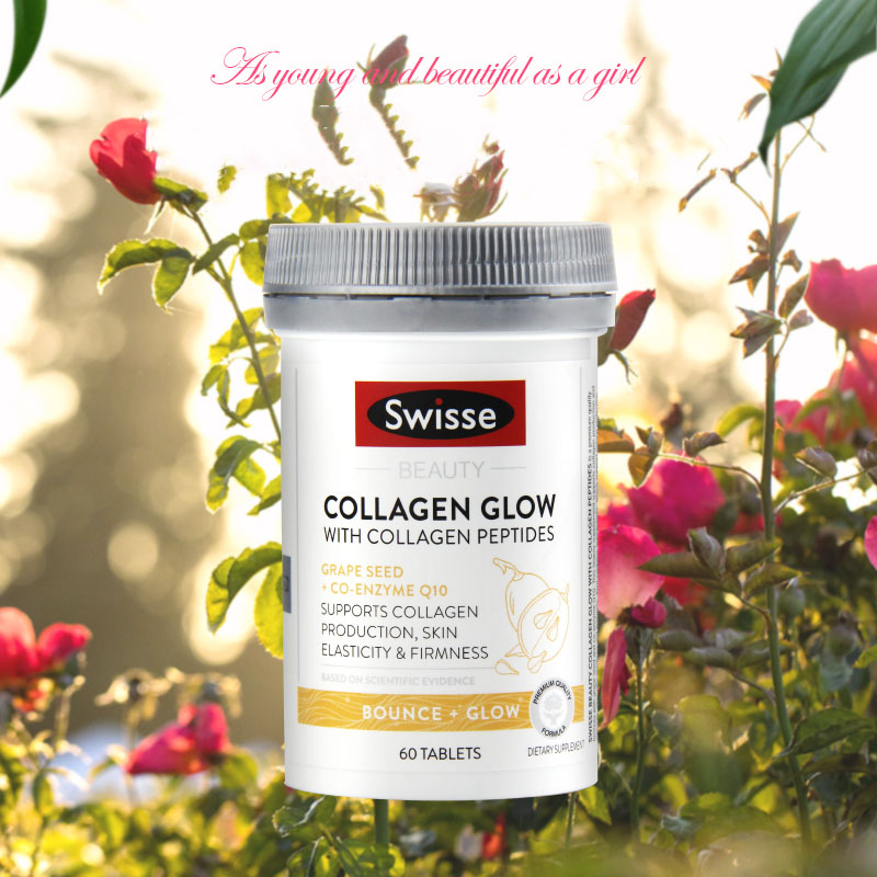 Australia Swisse Beauty Collagen Peptides Glow Grape Seed Co-enzyme Q10 60Tablets Women Skin Repair Firmness Dietary Supplement image