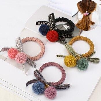 Повязка для волос с помпоном для девочек, цветной бант, заколка для конского хвоста, эластичные резинки для волос, аксессуары для детей, милый головной убор