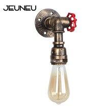 Tubo de agua retro Loft Industrial hierro óxido pared luces Vintage E27 LED 110V-220V candelabro lámparas de pared para sala de estar dormitorio bar