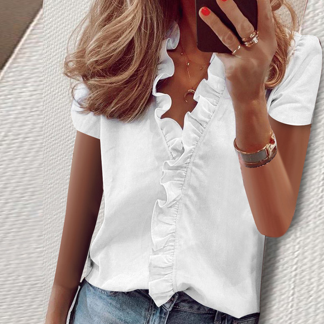 Short Sleeve Shirts Ladies Tops Summer Blouse Office Lady Women's Clothing New Fashion Ruffle V-Neck Solid Shirt Casual Female 1
