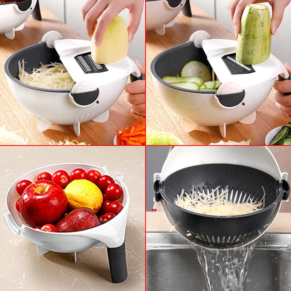 Sayuran Buah Slicer Parutan Cutter Pengupas Multifungsi Parutan Menguras Keranjang Dapur Alat Pengiris dengan Wadah Besar