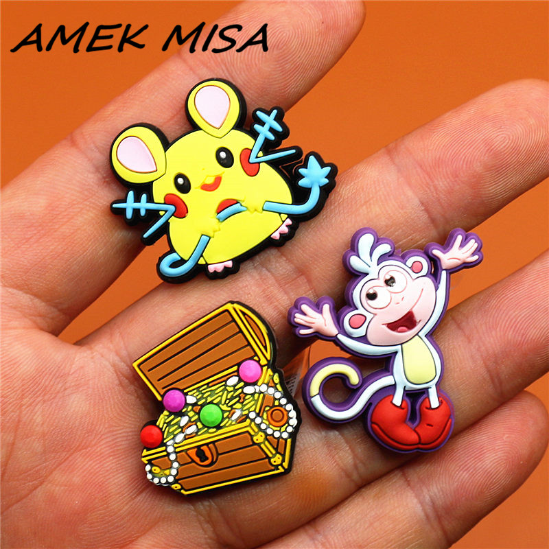 High Imitation 1pcs Pikachu Shoe Accessories Treasure Shoe Charms Cartoon Monkey Shoe Buckle Decorations Fit Croc JIBZ Kids Gift