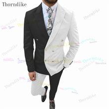Thorndike 2021 nova moda magro ajuste dos homens padrinhos para festa de casamento smoking formal prom terno (jaqueta + calças) t1117
