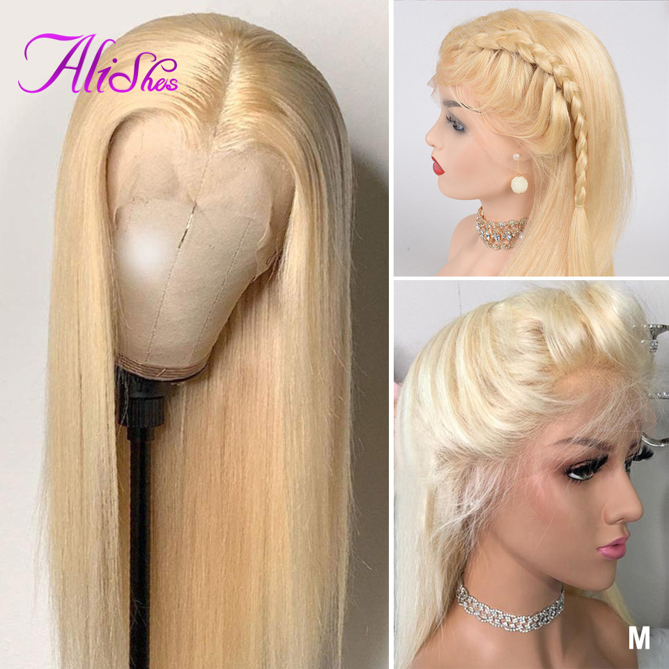 Alishes 613 Full Lace Wig Human Hair 10-24inch Blonde Color Transparent Lace Straight Wigs for women Natural Brazilian Remy Hair image