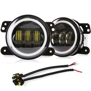 Image 2 - 4 inç yuvarlak Led sis ışık far 30W projektör lens ile Halo DRL lamba Offroad Jeep Wrangler Jk için dodge hummer H1