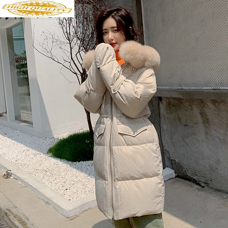 White Duck Down Coat Big Fur Collar Winter Coat Women Down Jacket Korean Warm Parka Puffer Jacket Casaco B19R02080YY1392