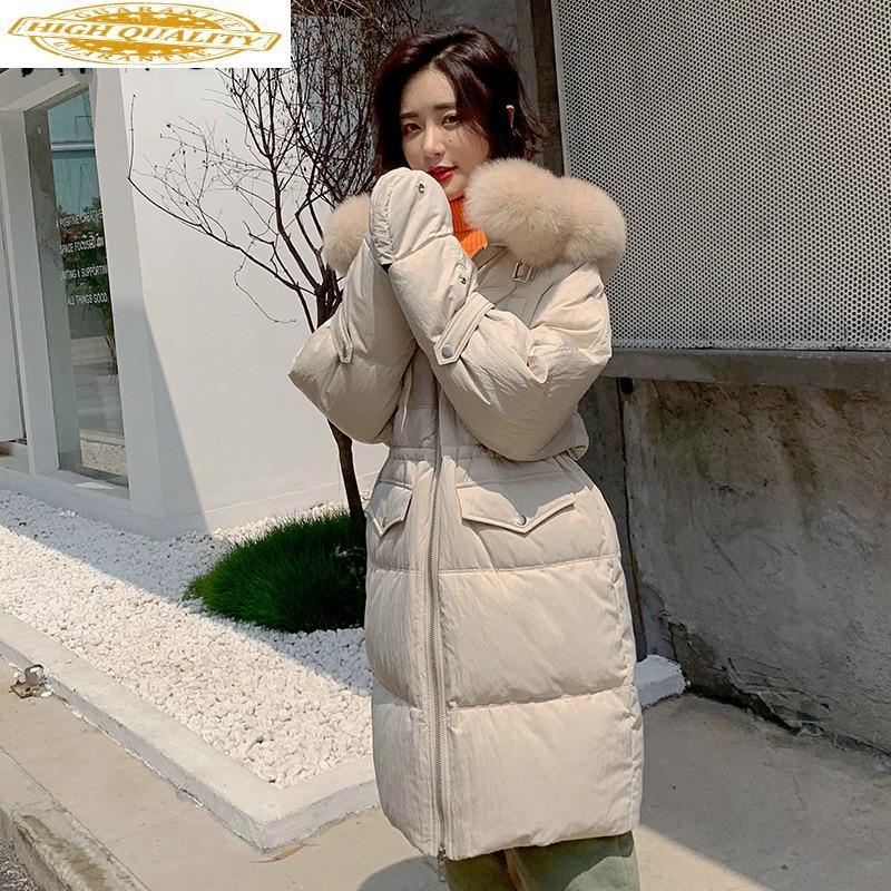 White Duck Down Coat Big Fur Collar Winter Coat Women Down Jacket Korean Warm Parka Puffer Jacket Casaco B19R02080YY1392