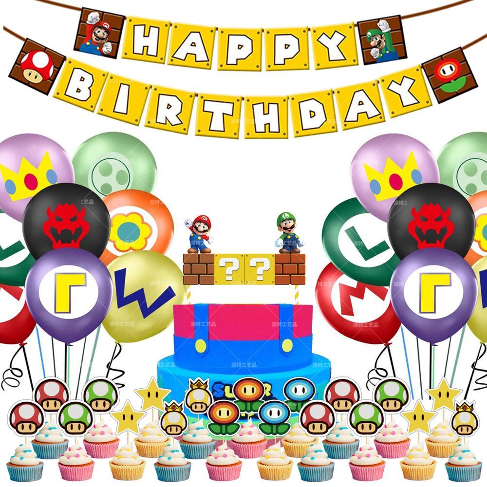 1 conjunto super lugis tema decorações de festa lugis balão de aniversário banner bolo toppers ar ballon brinquedo crianças festa de aniversário suprimentos