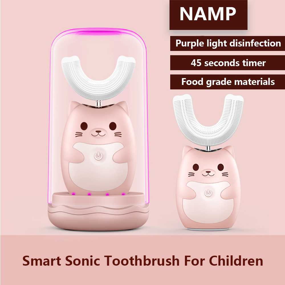 360 Degrees Intelligent Automatic Sonic Children's Electric Toothbrush U Type 3 Modes Tooth Brush USB Charging Tooth Whitening image