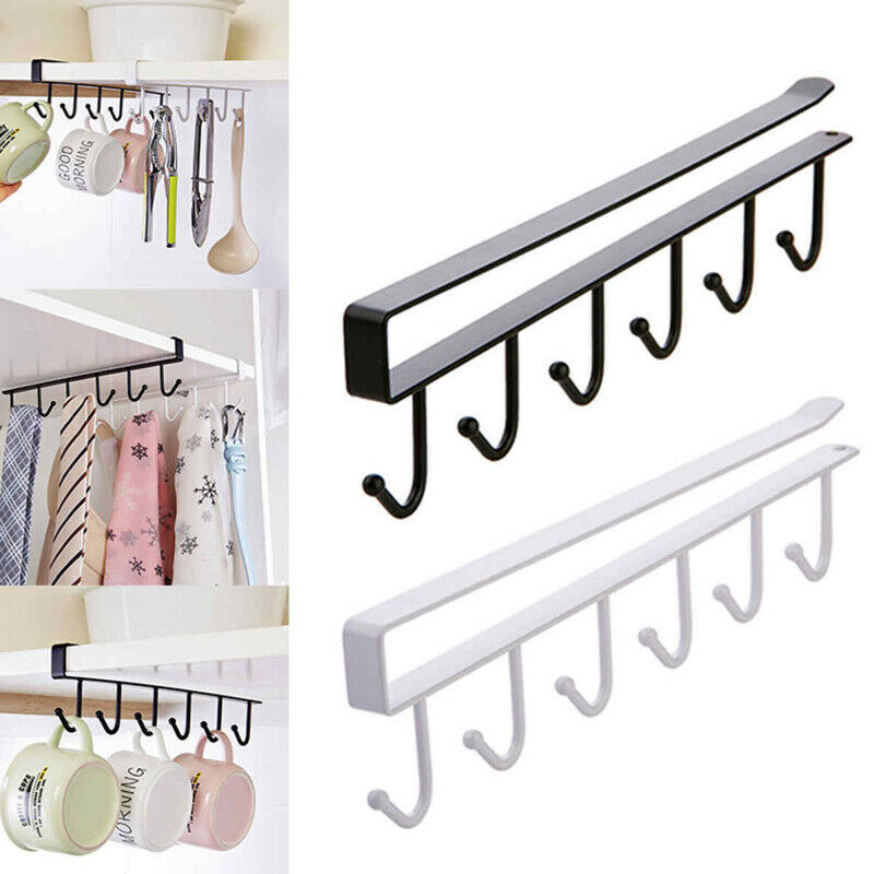 Practical 6 Hooks Cup Holder Hang Cabinet Under Shelf Organiser Hook Kitchen Cupboard Storage Rack Hanging Hooks