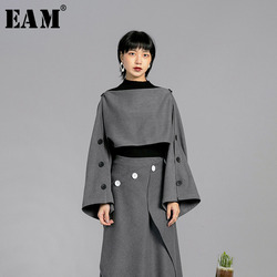 [EAM] 2019 Auutmn Winter Temperament Stylish New Solid Color Ways Wear Methods Long Rectangle Double Breasted Shawl LE369