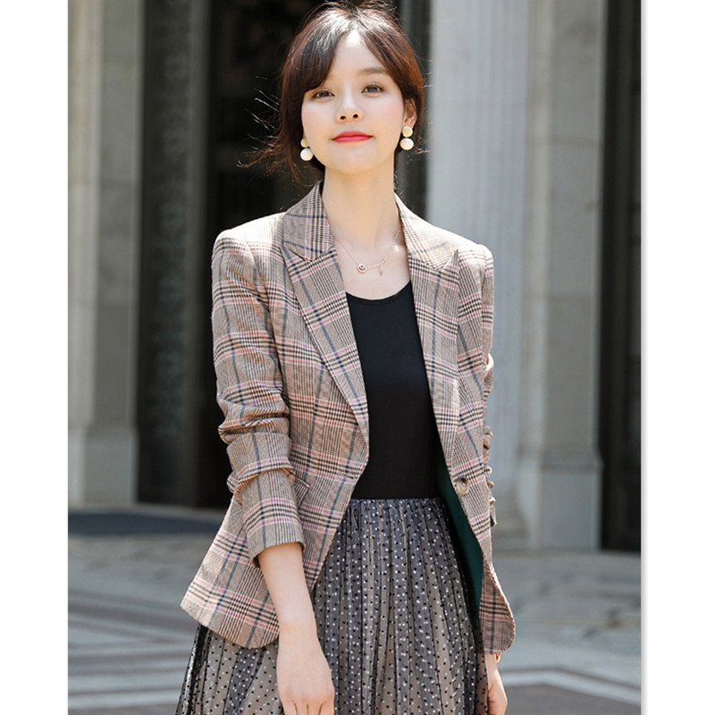 Vintage Plaid Blazer Women 2020 New Spring Korean Version Slim Full Sleeve Oversize Suit Office Giacca Donna XXN-19916