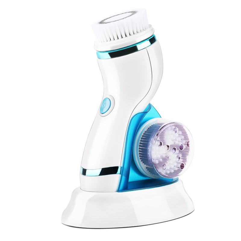 4 In 1 Ultrasonic Electric Facial Cleansing Brush Massager Rechargeable Pore USB Face Cleaning Device Skin Care Brush For Face