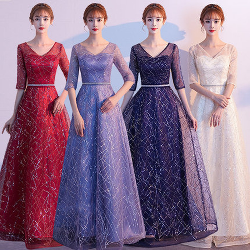 Women Special Occasion Dresses Bridesmaid Dresses Long Sleeves Lace Bridesmaids Dresses For Women Maid Of Honor Dress Elegant
