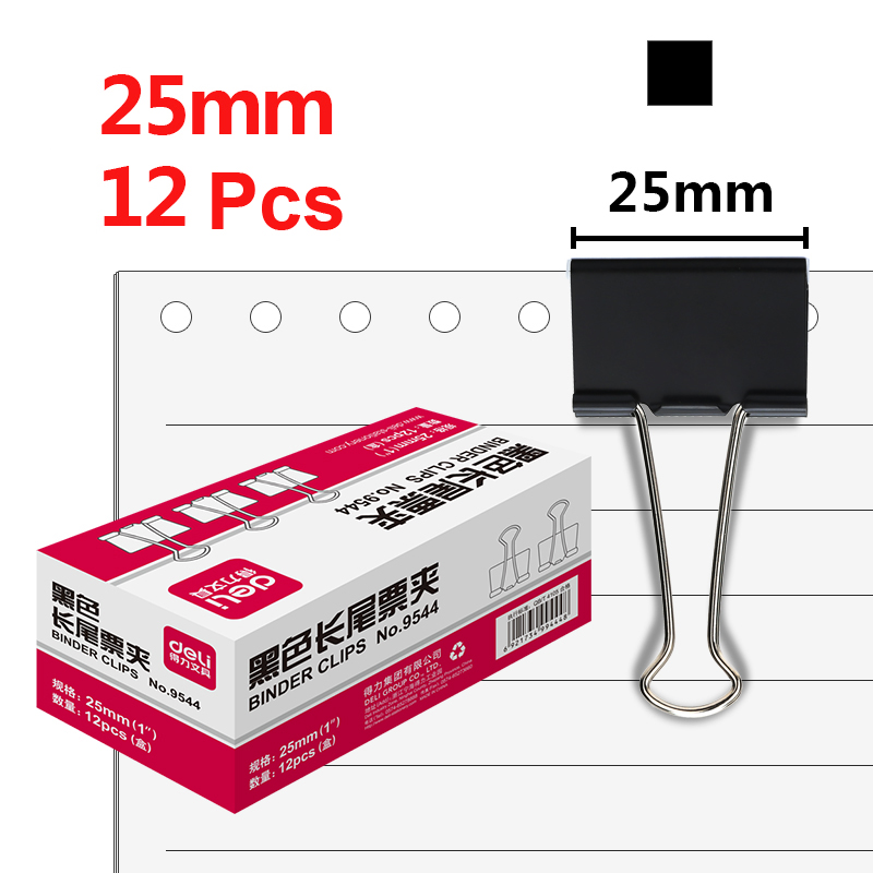 Deli 25mm 12pcs/box Metal Black Binder Clip Paper Clips Material Oficina Iron Clip Binders Photo Holder Stationery Items9544