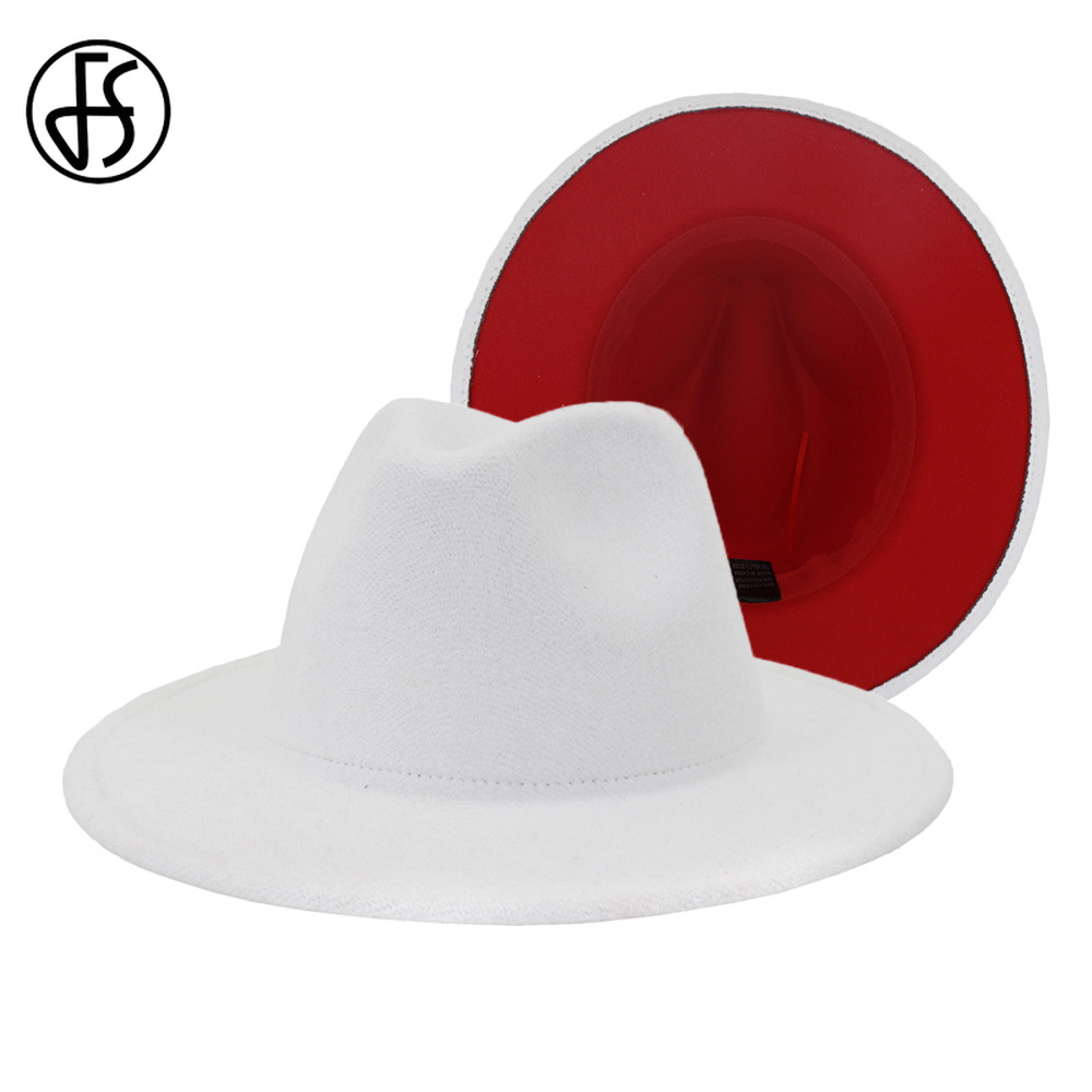 FS White Red Patchwork Wool Felt Jazz Fedora Hat Women Unisex Wide Brim Panama Party Trilby Cowboy Cap Men Gentleman Wedding Hat