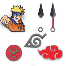 Naruto Sharingan Akatsuki Red Cloud Kunai Shuriken Enamel Pin Bros Cosplay Alat Peraga Paduan Aksesoris Kostum(China)