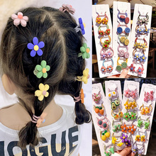 5Pcs/Set Girl Cartoon Animal Fruit Flower Elastic Hair Bands Scrunchies Ponytail Holder Headbands for Kids Accessories Gift