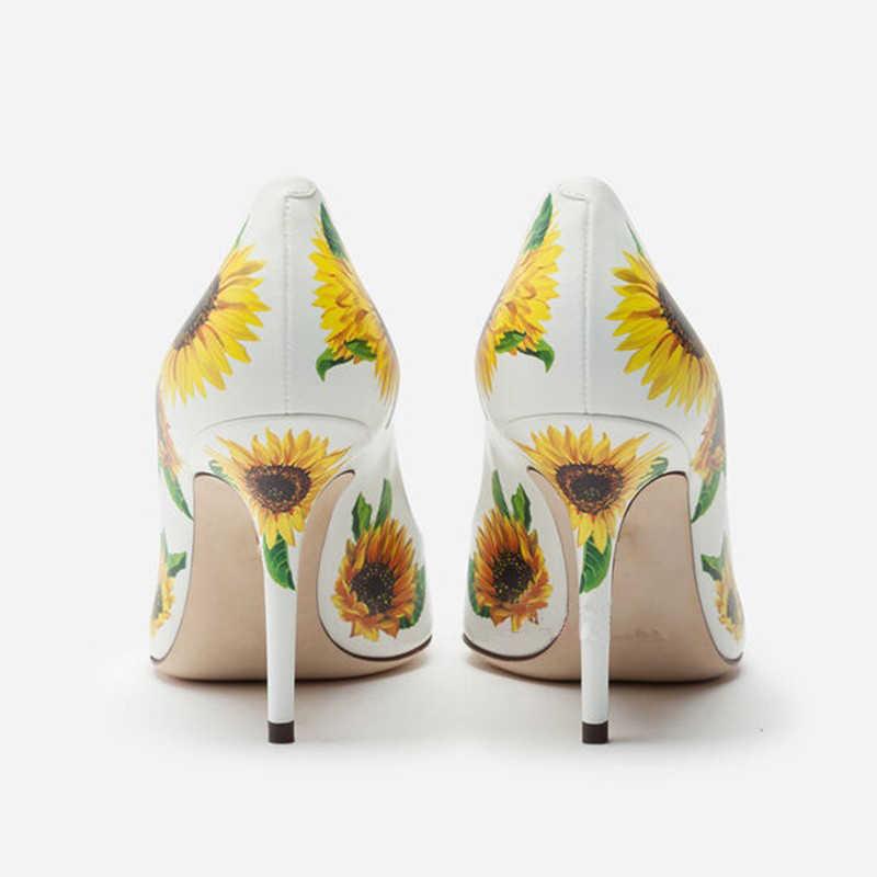 2019 Sonbahar ayçiçeği baskı kuzu derisi yüksek topuklu sığ ağız sivri stiletto ayakkabı toka kadın ayakkabısı