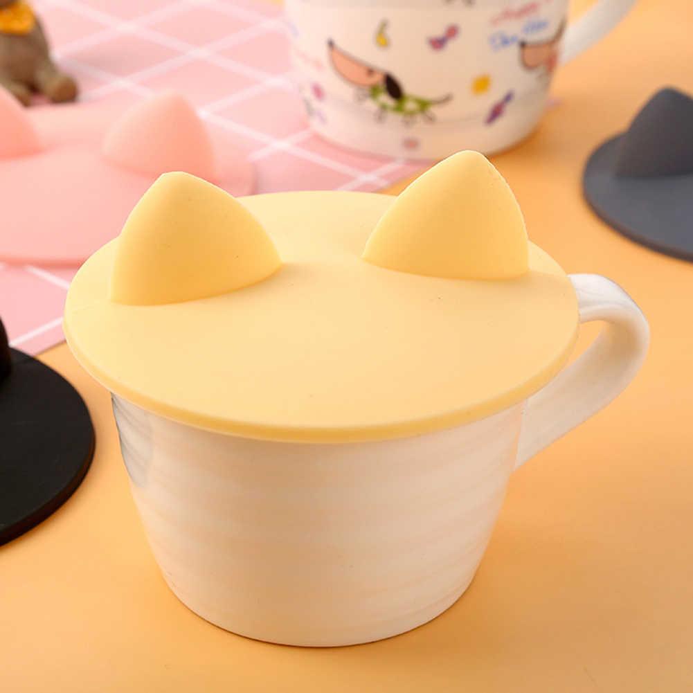 Mode créative de qualité alimentaire Silicone chat oreille tasse à café tasse en verre couvercle couvercle