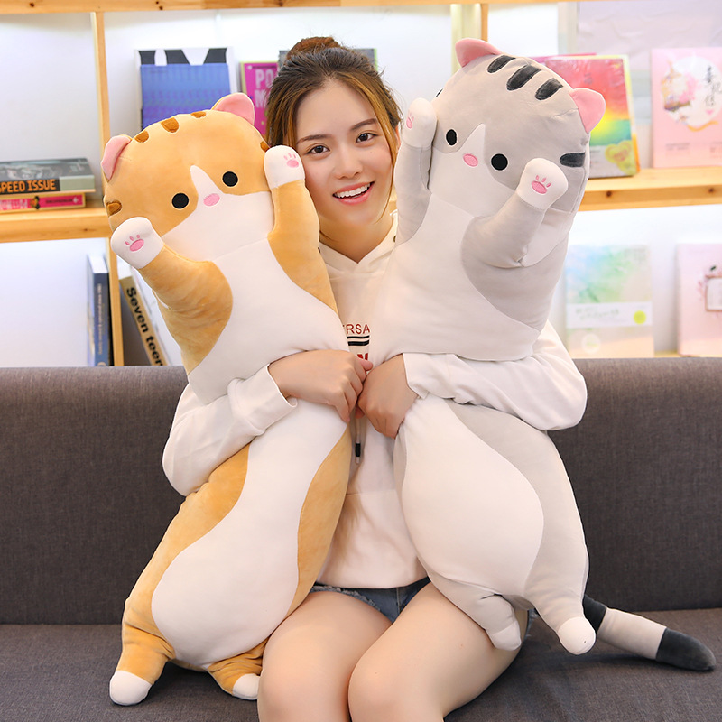 Long Cylinder shape cushion cat plush toy pillow doll big cat plush body pillow doll boyfirend girl friend gift