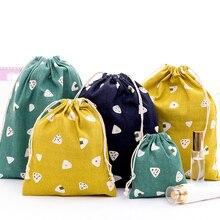 Портативная эко многоразовая Повседневная Льняная сумка на шнурке, Женская Пылезащитная дорожная сумка для хранения, женская сумка-Органайзер для макияжа, сумка для покупок