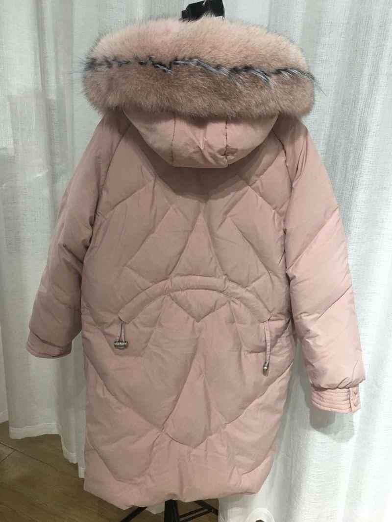 Chaqueta de plumón de pato blanco para mujer, piel grande con cuello de abrigo de invierno, chaqueta de plumón para mujer, chaleco de parque cálido para mujer Y1464