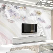 Personalizado 3d papel de parede auto adesivo moderno abstrato pena mármore foto arte da sala estar sofá tv fundo peint mural
