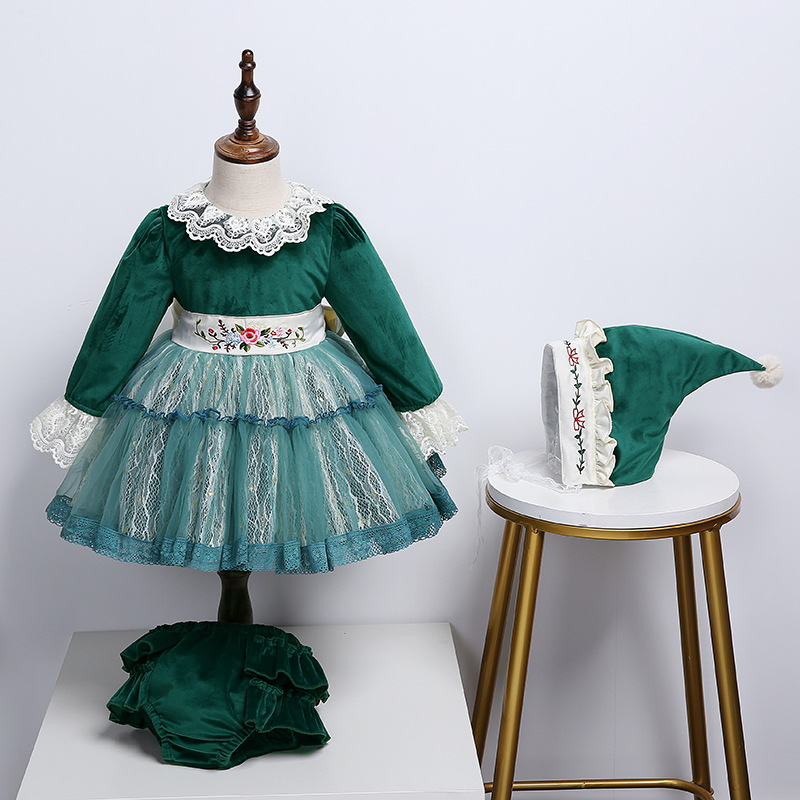 High Quality Kids Long Sleeve Lace Dress Gilrs Sweet Lolita Dress Halloween Lolita Cosplay Spanish Court Style Dress for Girls