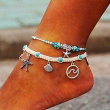 цена на Bohemian starfish pendant braided rope ladies anklet bracelet shell crystal multilayer foot chain beach fashion anklet jewelry