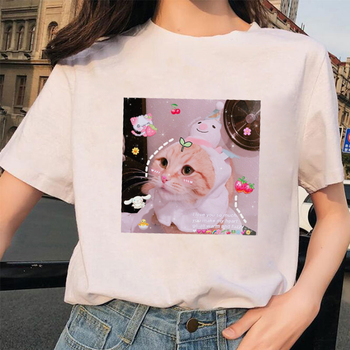 Cute cat print T Shirt Women Clothes Sweet Valentines Day Gifts Female T-Shirts Fashion Kawaii cat Animal Printed tshirt