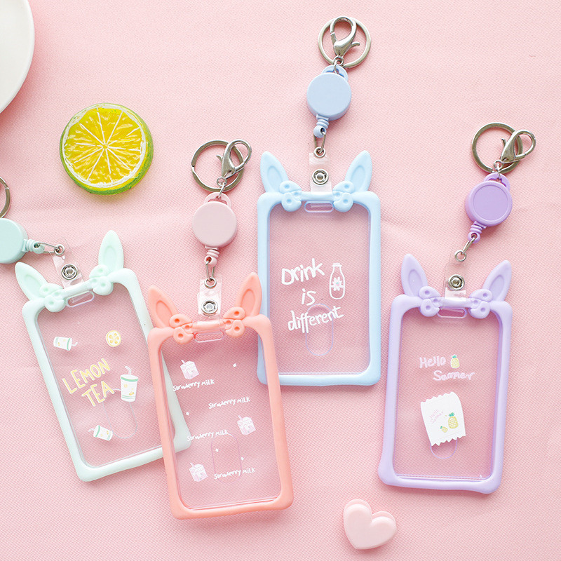 Cute Ear Silicone Transparent Retractable Card Holder Girl Student Clear ID Card Pass Cover Keychain Women Badge Card Case New