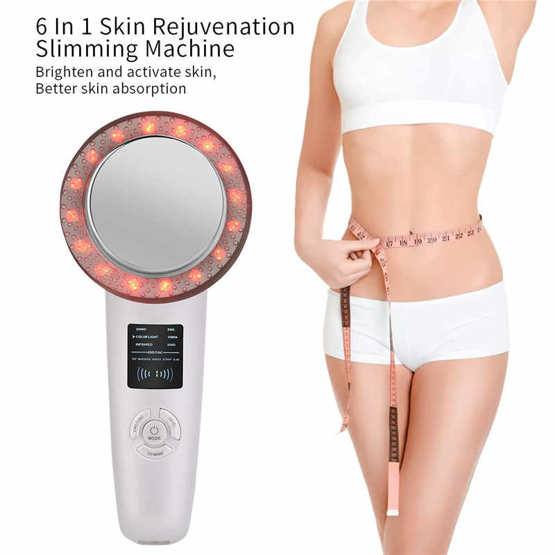 6in1 ultrasons EMS corps minceur masseur Ions infrarouges 6 LED couleur Anti Cellulite Massage graisse brûleur perte de poids Machine
