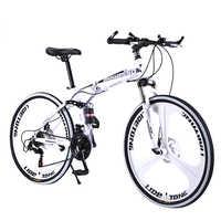 BeGasso-Bicicleta de Montaña plegable de acero al carbono para adultos y estudiantes, bici de carretera de 26 pulgadas con freno de disco doble, cuadro de carreras