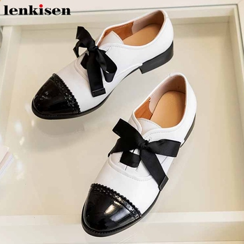 Lenkisen genuine leather mixed colors British school style round toe med heels women leisure cozy fashion lace up pumps L21