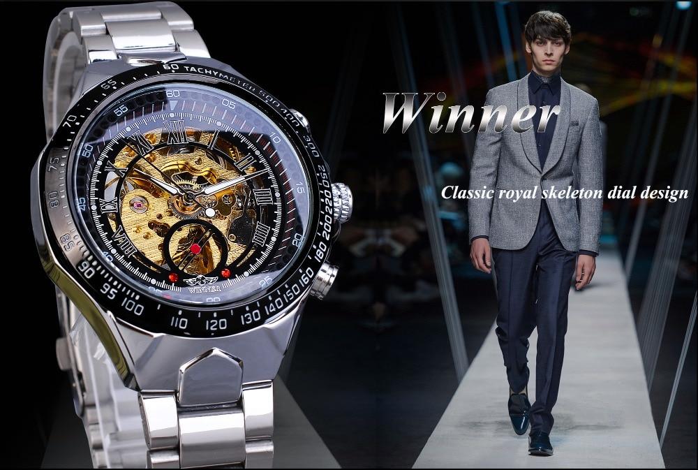 H67e9e727d3b746e39f9f8b89273b6c48l Winner Classic Series Golden Movement Steel Mens Skeleton Man Wrist Watch Mechanical Top Brand Luxury Fashion Automatic Watches