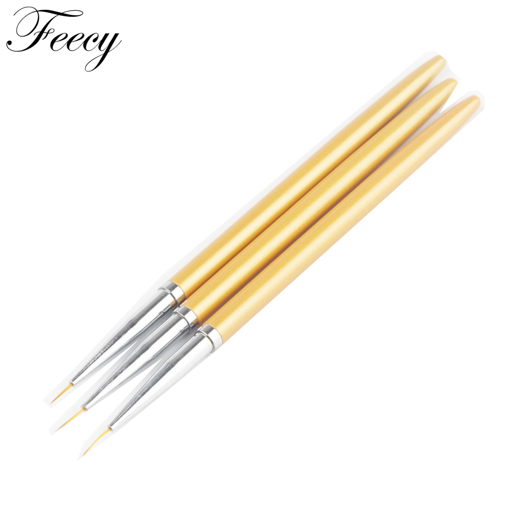 Painting Pen Brushes 3 Pieces / Set Gold Design Professional High Quality Uv Nail Line Nail Gel Tips 3D Design Manicure Drawing