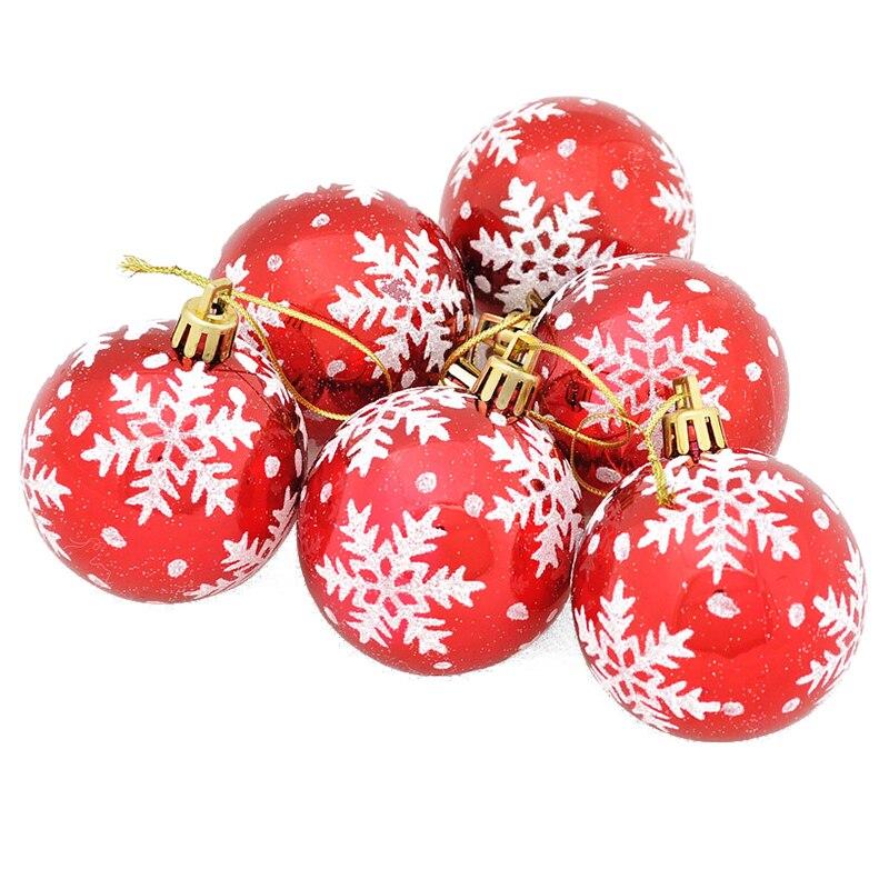 6pcs Christmas Tree Balls Diameter 6cm Snowflake Color Drawing Decorations Ball Xmas Party Wedding Ornament