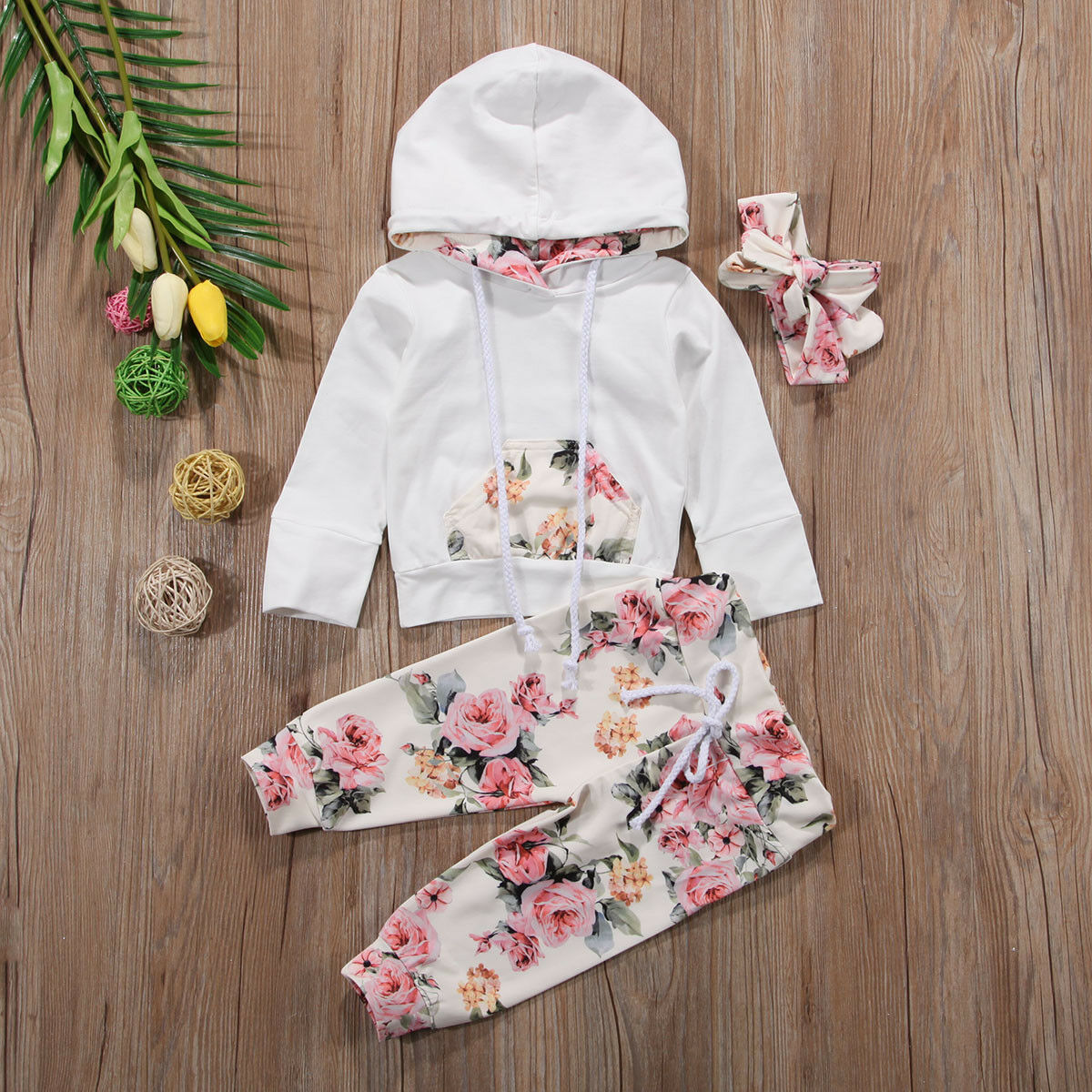 Pudcoco Autumn Newborn Baby Girl Clothes Flower Print Long Sleeve Hooded Tops Long Pants Headband 3Pcs Outfits Sweatshirt Set