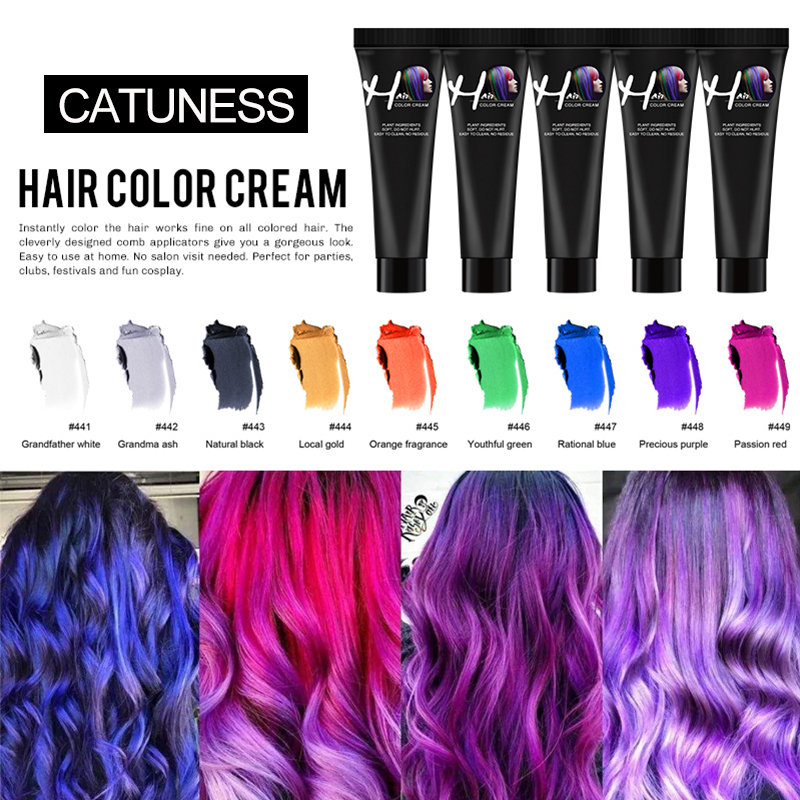 DIY Color Hair Dye Professional One Time Hair Color Waterproof Colorful Silver Grey Mascara Non-toxic Color Hair Wax Mud Cream