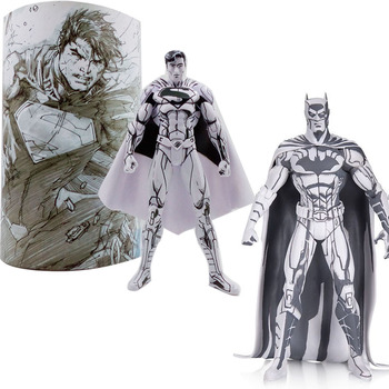 цена 17cm Batman Figure Superman Comic Sketch Version Bruce Wayne Action Figure Model Collection Toys онлайн в 2017 году
