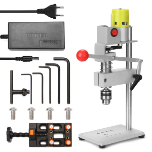 Image 1 - 100W Aluminum Workbench Repair Tools Universal Bench Clamp Drilling Press Stand Hand Manual Bench Rocker Adjustable Drill Stand