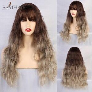 Image 4 - EASIHAIR długie ciało fala peruki syntetyczne dla kobiet szary do fioletowego Ombre sztuczne włosy Cosplay peruki z grzywką peruki termoodporne